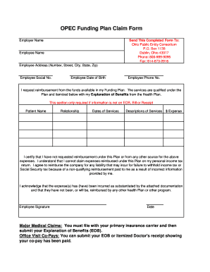 opec funding plan claim form