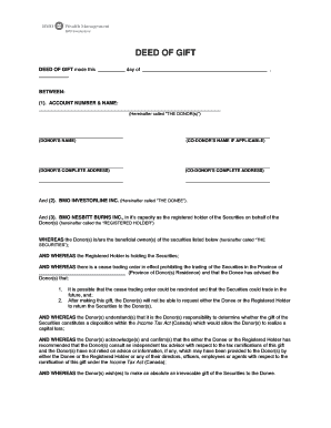 DEED OF GIFT - BMO InvestorLine