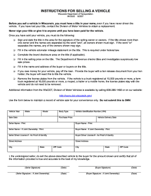 bill of sale wi form