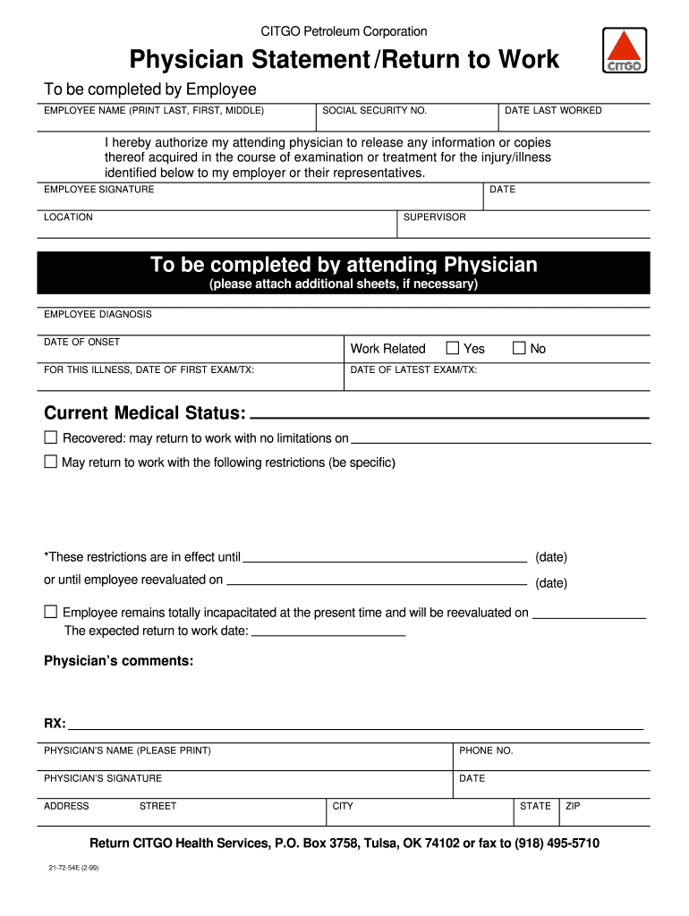 graphic relating to Printable Return to Work Form named Printable Return Toward Get the job done Type - Fill On-line, Printable