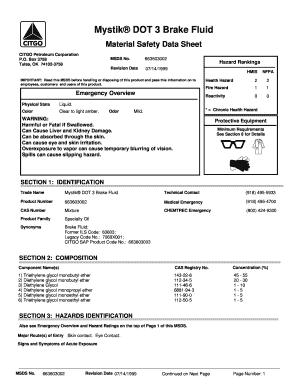 Fillable Online 5938 Mystik Dot 3 Brake Fluid English Citgo Msds Form 8 K Fax Email Print Pdffiller