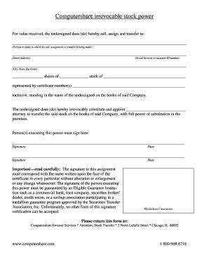 Stock Power Form - Fill Online, Printable, Fillable, Blank | PDFfiller