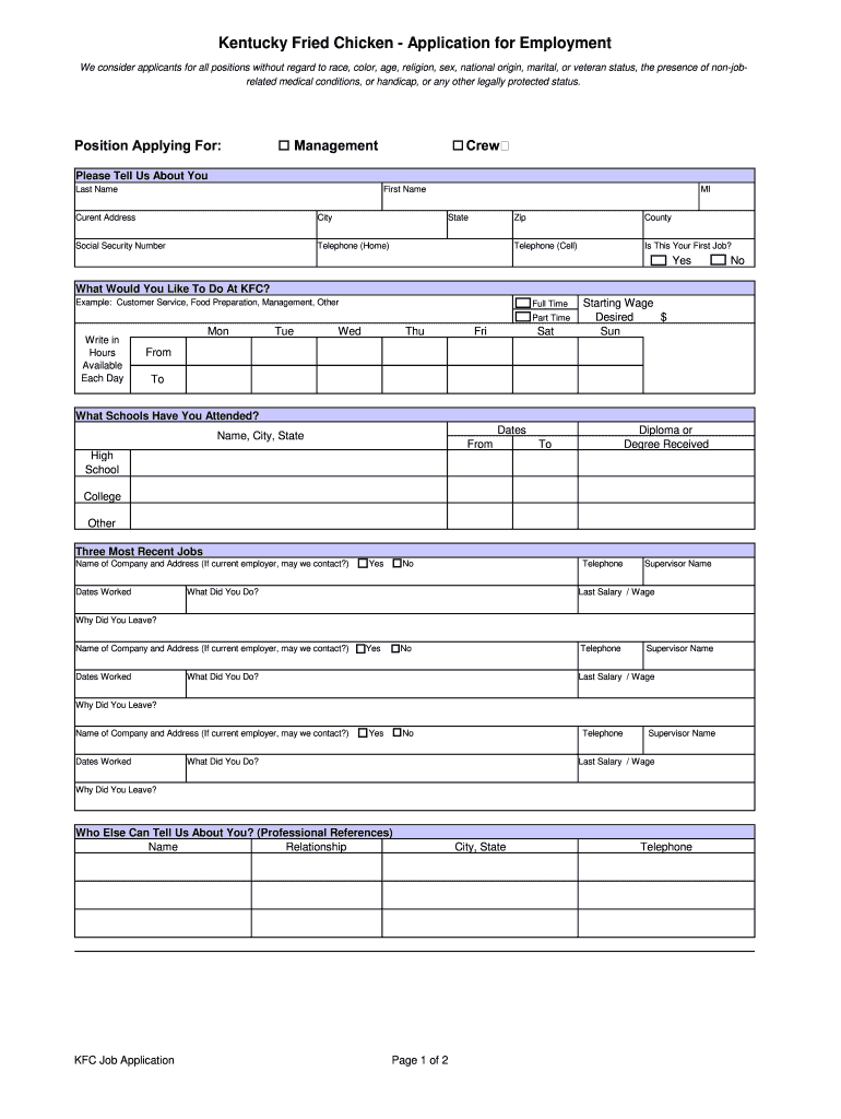 Kfc Application Pdf - Fill Online, Printable, Fillable, Blank