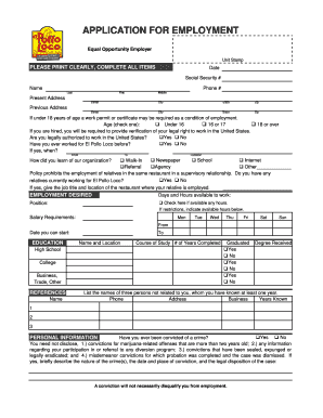 Pollo Loco Application Formpdffillercom - Fill Online, Printable ...