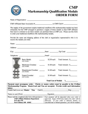 Fillable Online CMP Marksmanship Qualification Medals Order Form ...