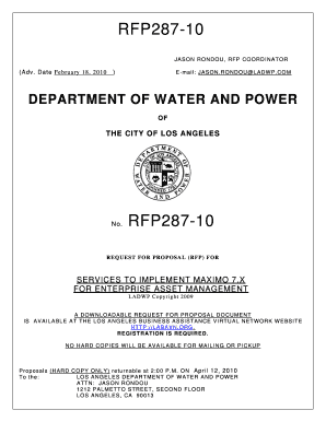 fillable online ladwp rfp 287 10 maximo 7 x upgrade 2 18 10 pdf rh pdffiller com