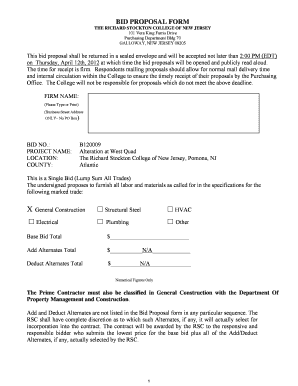 Fillable Online BID PROPOSAL FORM Aliano Brothers General