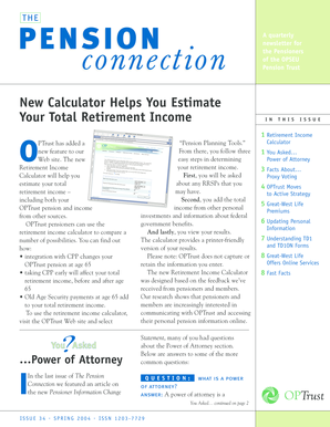The Pension Connection 34 Spring 2004 Retirement Income Calculator Power Of  Attorney Proxing Voting Great