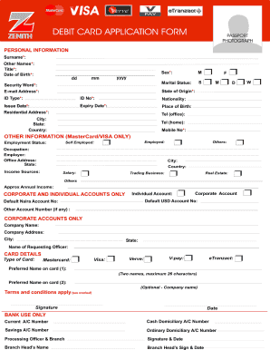 zenith bank application form
