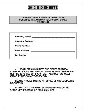 fillable online bid 2013 02 construcmat bid sheets pdf empire