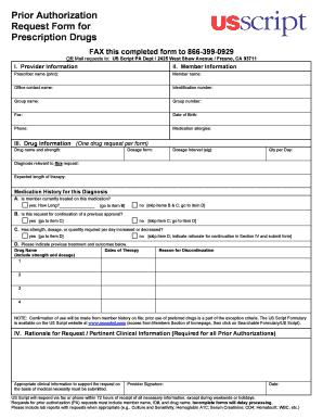 Fillable Online Prior Authorization Request Form for Prescription ...