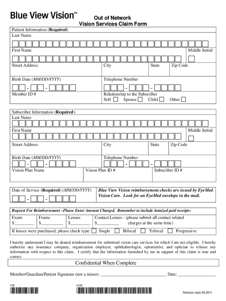 Blue View Vision Claim Form - Fill Online, Printable ...