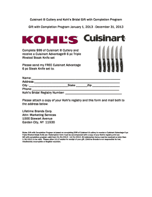 Cuisinart Cutlery And Kohl39s Bridal Gift With Completion Program Bb