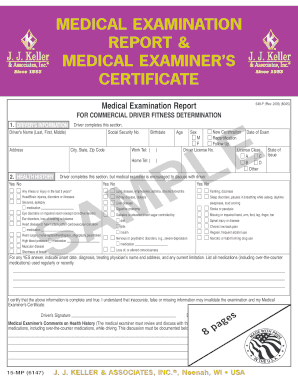 Medical examination report & medical examiner's certificate
