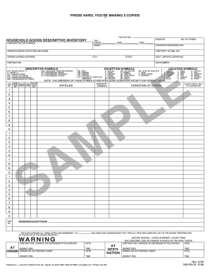household goods descriptive inventory form