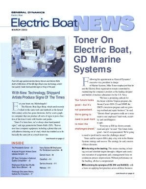 Toner On Electric Boat, GD Marine Systems - Electric Boat Corporation