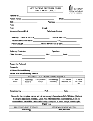 Fillable Online New patient referral form adult hematology