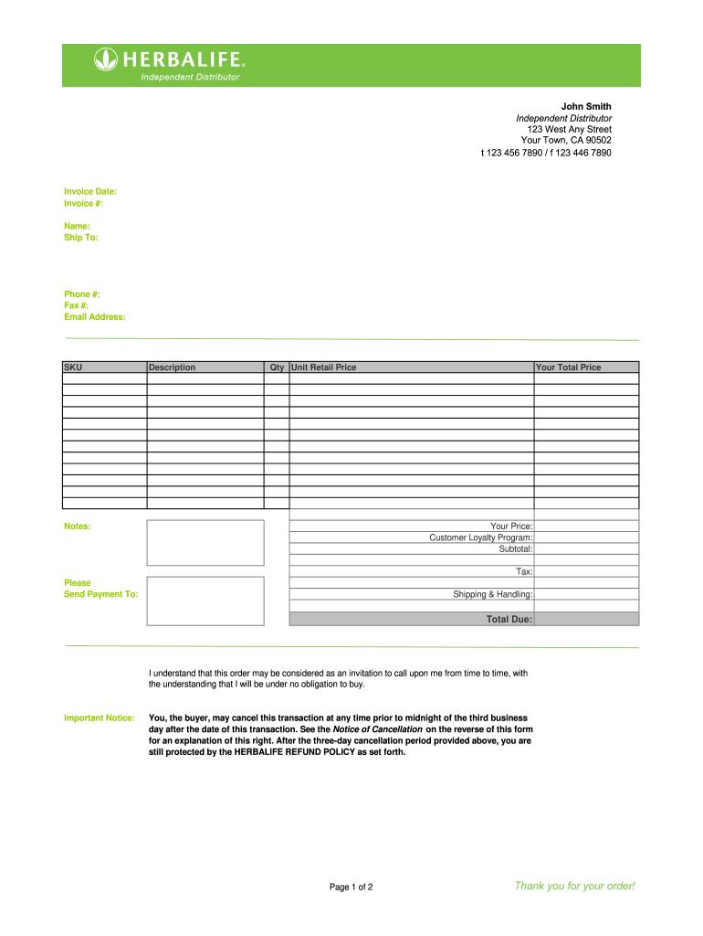 herbalife retail order form  Herbalife Order Form