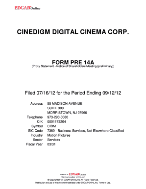 CINEDIGM DIGITAL CINEMA CORP.. FORM PRE 14A (Proxy Statement - Notice of Shareholders Meeting (preliminary)) Filed 07/16/12 for the Period Ending 09/12/12