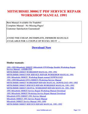 mitsubishi 3000gt service manual 1991 1999