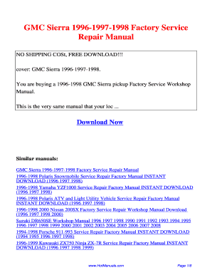 1996 gmc sierra repair manual fill online printable fillable rh pdffiller com 2010 gmc sierra repair manual 2000 gmc sierra repair manual free download