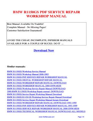 fillable online bmw r1150gs pdf service repair workshop manual rh pdffiller com