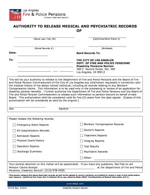 Authority to Release Medical and Psychiatric Records Form - LAFPP