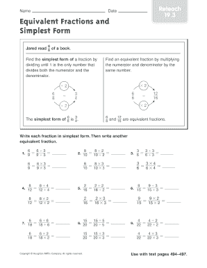 equivalent fractions and simplest form reteach 193