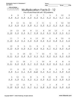 Free worksheets times tables test 1 12 free math for 12x table test