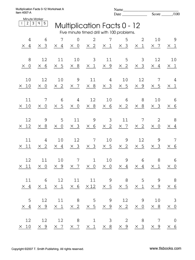 image about Division Timed Test Printable 0-12 referred to as Multiplication Timed Exams Printable - Fill On-line