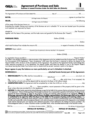 agreement of purchase and sale form