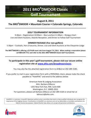 Fillable Online A 2011 Bro Dmoor Classic Golf Tournament August 8