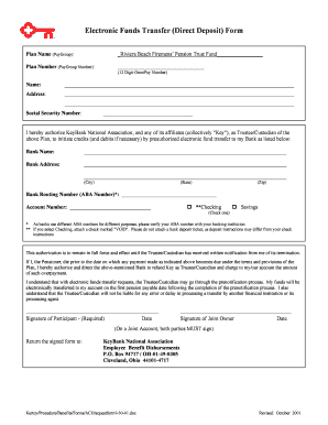 Fillable Online Electronic Funds Transfer (Direct Deposit) Form ...