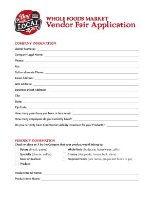 Whole Foods Local Vendor Application