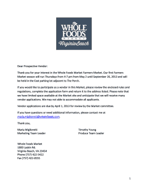 Whole Foods Market Donation Application
