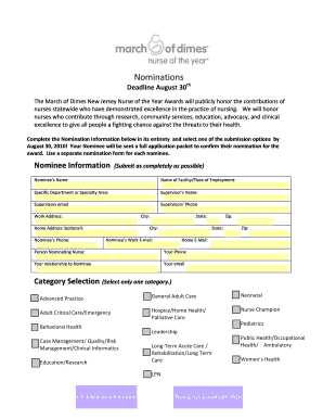 Nurse Of The Year Nomination Sample Form. Report For Template