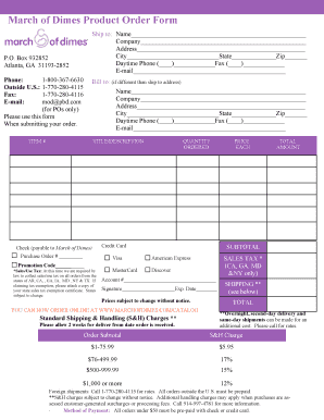 March Of Dimes Product Order Form - Fill Online, Printable ...
