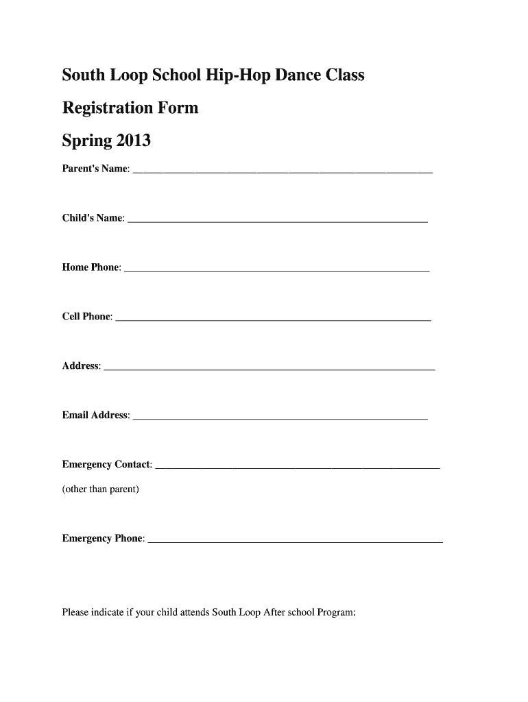 Dance Academy Admission Form Sample - Fill Online, Printable
