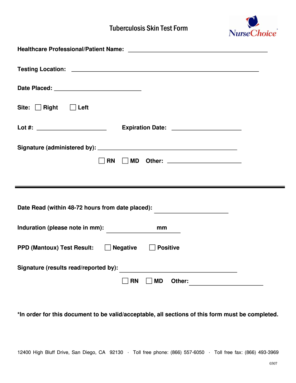 generic two step tb test form