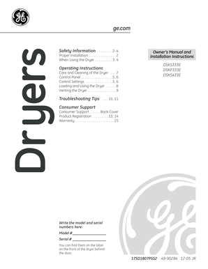 Fillable Online 49 90284 Ge Dryer Owner S Manual Camco 175d1807p552 Dsks333e Dskp333e Dsks433e 12 05 Jr 49 90284 Fax Email Print Pdffiller