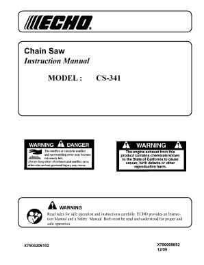 Chain Saw Instruction Manual MODEL : CS341 WARNING Read rules for safe operation and instructions carefully