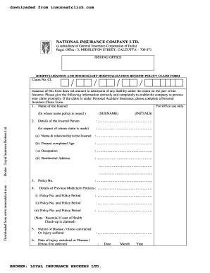 National Insurance Mediclaim Form Fill Online Printable