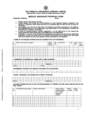 Oriental Insurance Form Fill Online Printable Fillable Blank