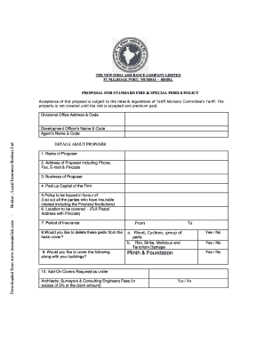 Fire Insurance Proposal Form New India Assurance ...