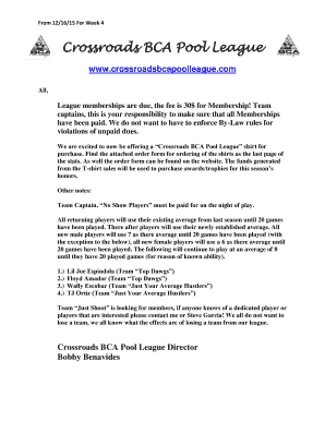 Fillable Online Crossroads BCA Pool League Fax Email Print