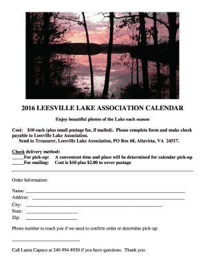 2016 LEESVILLE LAKE ASSOCIATION CALENDAR