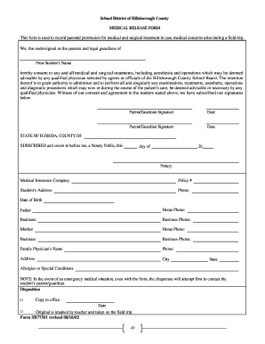 School District of Hillsborough County MEDICAL RELEASE FORM