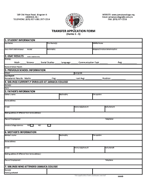 Jamaica Transfer Form - Fill Online, Printable, Fillable ...