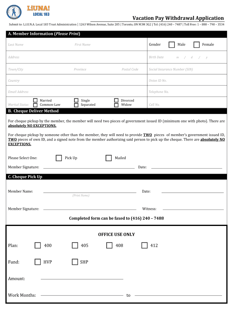 Local 183 Vacation Pay Form - Fill Online, Printable ...
