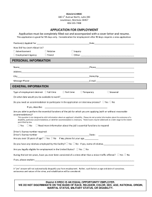District 6 HRDC st 300 1 Avenue North, suite 203 Lewistown, Montana 59457 4065357488 APPLICATION FOR EMPLOYMENT Application must be completely filled out and accompanied with a cover letter and resume